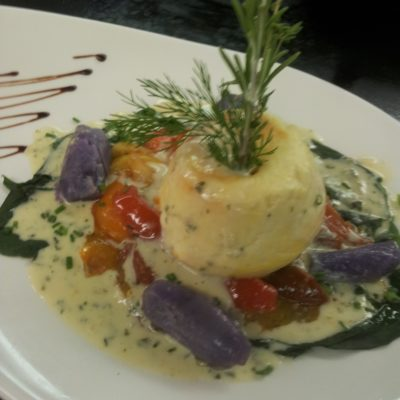 Red Snapper Flan with Crawfish Bisque