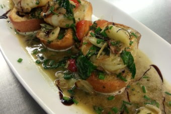 Jumbo Shrimp in a toasted garlic, white wine, butter sauce