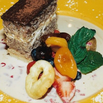 Marjolaine Cake with Dehydrated Fruits